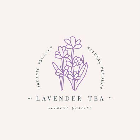 Vector design colorful template   or emblem - organic herb lavender tea. Çizim
