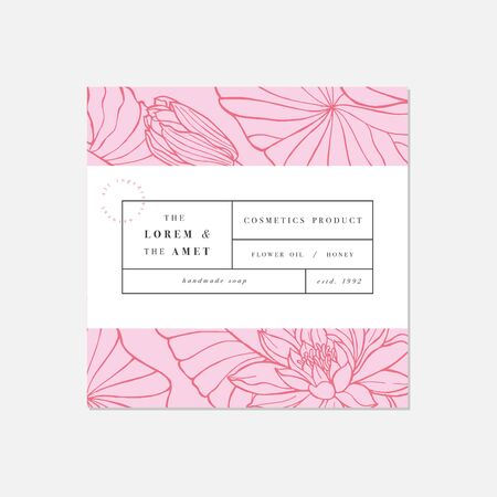 Vector patten for cosmetics with label template design. Pattern or wrapping paper for package and beauty salons. Lotus flowers. Organic, natural cosmetic