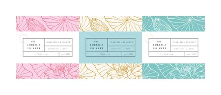 Vector set patterns for cosmetics with label template design. Patterns or wrapping paper for package and beauty salons. Lotus flowers. Organic, natural cosmetic Vector Illustration