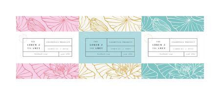 Vektorsatzmuster für Kosmetik mit Etikettenschablonendesign. Muster oder Geschenkpapier für Paket- und Schönheitssalons. Lotusblumen. Bio-Naturkosmetik Vektorgrafik