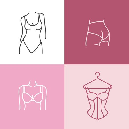 Vector set design colorful templates icons and emblems - different underwear clothes