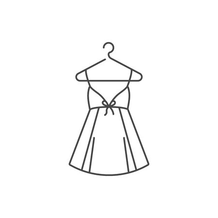 Vector illustration or icon woman dress on hanger isolated on white background Ilustração