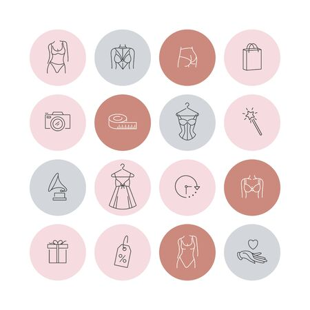 Vector set design colorful templates icons and emblems - social media story highlight. Different underwear shop icons in trendy linear style isolated on white background