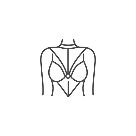 Vector illustration or icon woman silhouette with sexy underwear. Womens belt suit Illustration