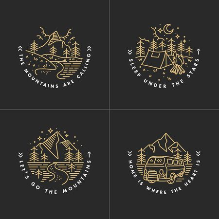 Vector set linear icon  mountains. Traveling emblems or round badge with mountains landscape.Design for t-shirt and print Reklamní fotografie - 132930155