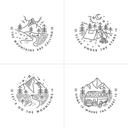 Vector set linear icon  mountains. Traveling emblems or round badge with mountains landscape.Design for t-shirt and print Reklamní fotografie - 132930169