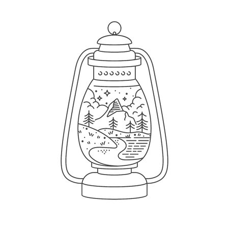Vector linear icon mountains. Traveling emblem concept - kerosene lamp with mountains landscape. Design for t-shirt and print