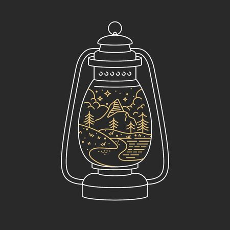 Vector linear icon  mountains. Traveling emblem concept - kerosene lamp with mountains landscape. Design for t-shirt and print Ilustrace