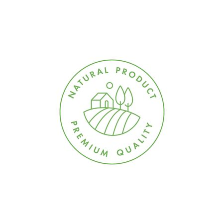 Vector logo, badge or icon for natural farm and healthy products. Symbol of premium quality food