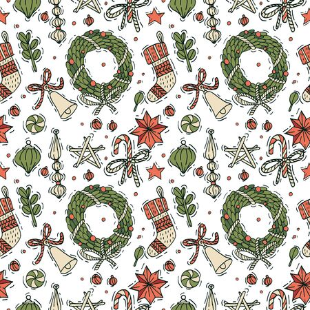 Vector hand draw design for Christmas greetings pattern. Seamless Xmas background, banners or posters and other printables. Winter holidays design elements
