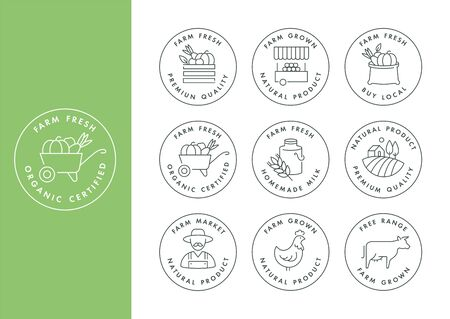Vector set of  badges and icons for natural farm and health products. Collection symbol of locally grown and organic food