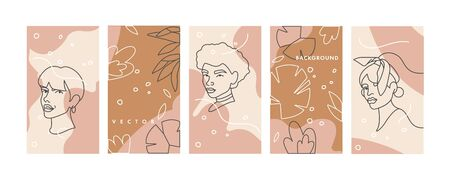 Vector set design templates linear face portraits of young woman - girl power and feminist movement. Social media story highlight. Çizim