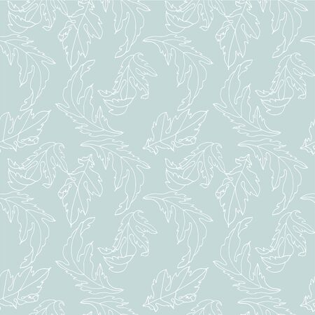 Abstract seamless pattern with leaves. Hand draw texture. Vector template Çizim