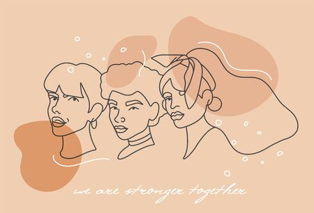 Vector illustration linear face portraits of young woman - girl power and feminist movement. Concept for prints, t-shirts