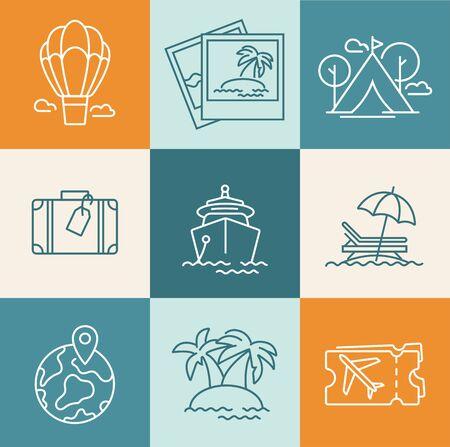 Vector set design colorful templates design and emblems - travel agency and different types of tourism. Concept travel icon. Illusztráció