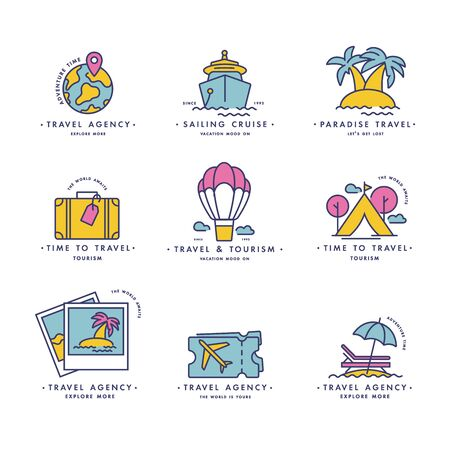 Vector set design colorful templates   emblems - travel agency and different types of tourism. Illusztráció