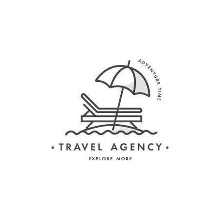 Vector design colorful template  emblem - travel agency and different types of tourism. Concept travel icon.