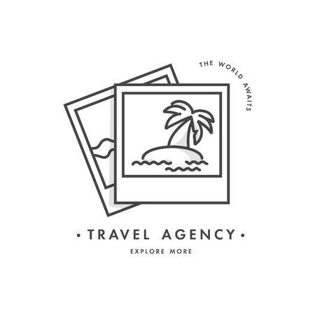 Vector design colorful template  emblem - travel agency and different types of tourism. Illusztráció