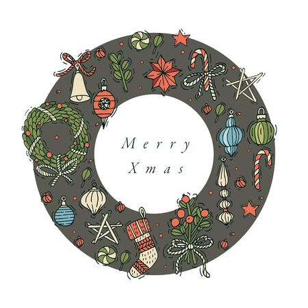 Vector hand draw design for Christmas greetings card colorful color.
