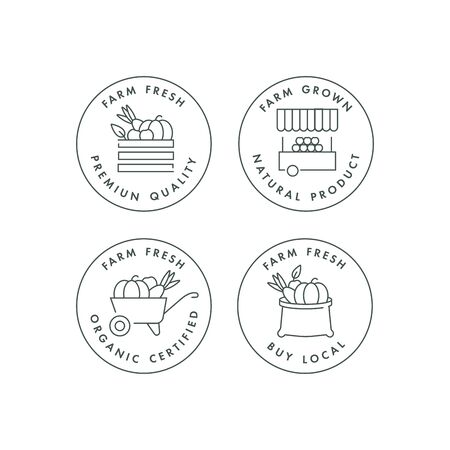 Vector set of  badges and icons for natural farm and health products. Collection symbol of locally grown and organic food. Concept illustration for farmers market. Infographic Çizim