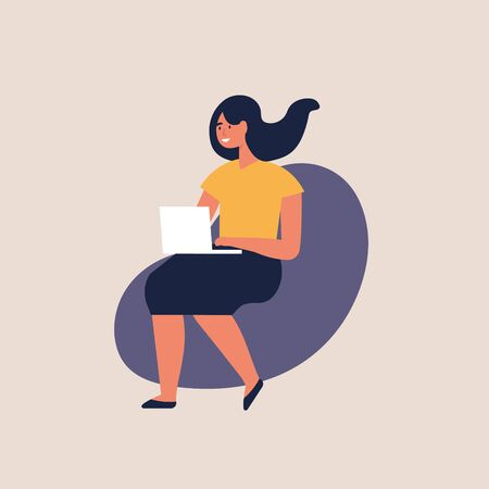 Vector illustration young women sitting in a chair and working on laptop at home or modern coworking space. Male freelancer.