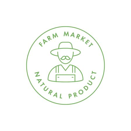 Vector   badge or icon for natural farm and healthy products. Symbol of farm market and antural food.