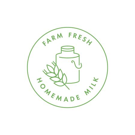 Vector logo, badge or icon for natural farm and healthy products. Symbol of farm fresh and homemade milk