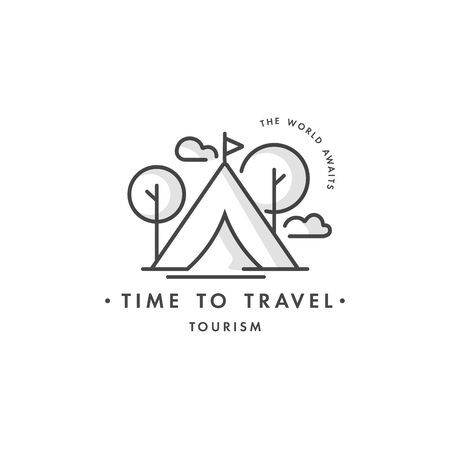 Vector design colorful template design or emblem - travel agency and different types of tourism. Hiking travel icon. Çizim