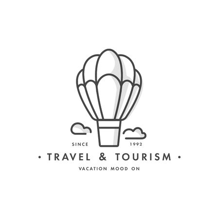Vector set design colorful templates emblems - travel agency and different types of tourism. Balloon travel icon.