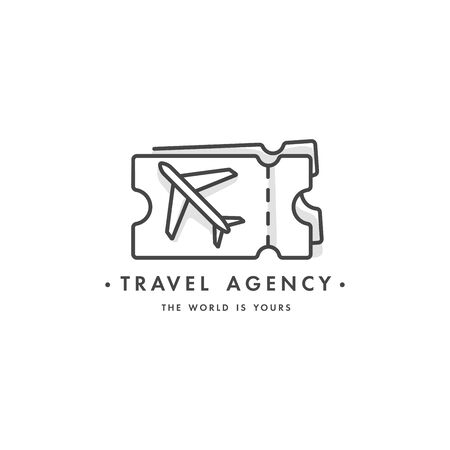 Vector design colorful template  emblem - travel agency and different types of tourism. Travel ticket icon. Illusztráció