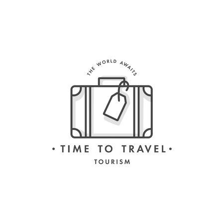 Vector design colorful template emblem - travel agency and different types of tourism. Concept travel icon. Illusztráció