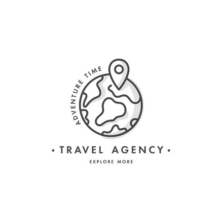 Vector set design colorful templates emblems - travel agency and different types of tourism. Concept travel icon.