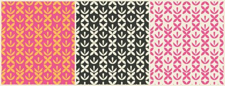Vector set seamless geometric design patterns. Patterns or background for wrapping paper or package and beauty salons. Simply ornament. Çizim