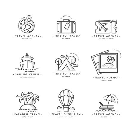 Vector set design colorful templates  and emblems - travel agency and different types of tourism. Concept travel icon.
