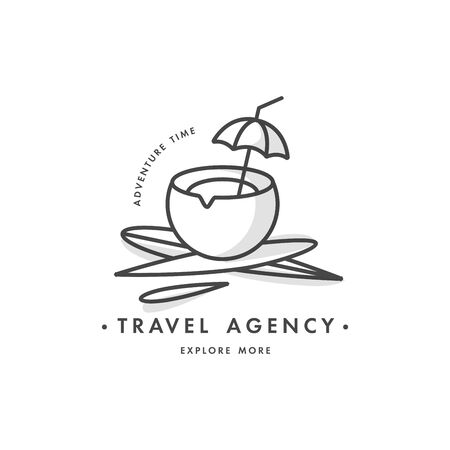 Vector design colorful template or emblem - travel agency and different types of tourism. Concept travel icon. Illusztráció