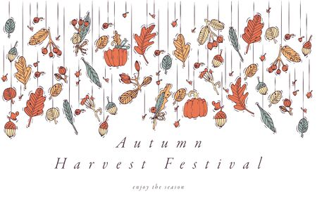 Vector linear design Harvest festival greetings card. Typography ang icon for autumn holiday background, banners or posters and other printables Stock Illustratie