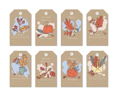 Vector linear design Harvest festival greetings elements. Fall tags set with typography and colorful icon