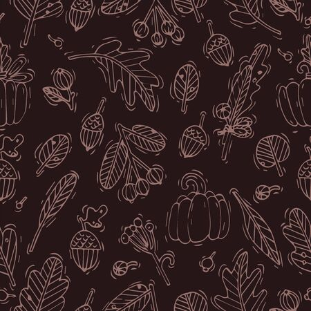 Vector seamless autumn design patte. Pattern or background for wrapping paper or package. Fall icons Stock Illustratie
