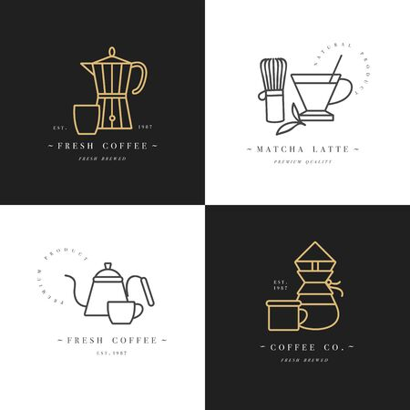 Vector set design colorful templates and emblems - coffee shop and cafe. Food icon. Golden labels in trendy linear style isolated on white background