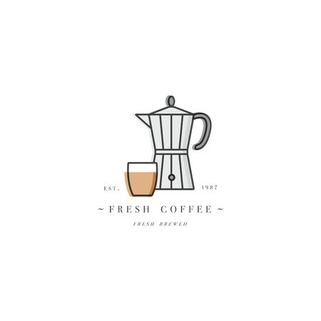 Vector design colorful template or emblem - coffee shop and cafe. Food icon. Label in trendy linear style isolated on white background