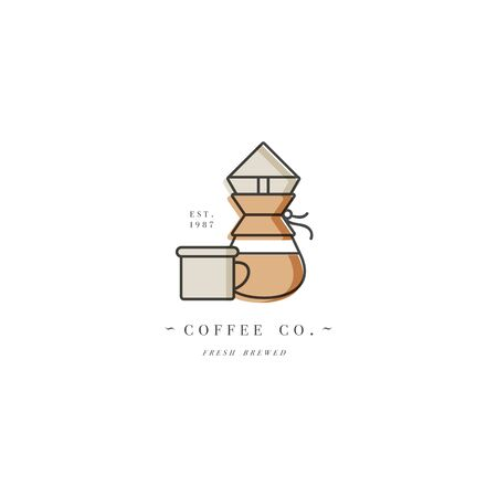 Vector design colorful template   or emblem - coffee shop and cafe. Food icon. Label in trendy linear style isolated on white background Zdjęcie Seryjne - 132518273