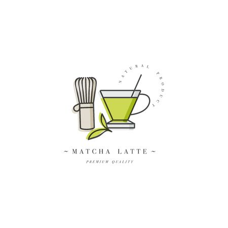 Vector design colorful template  or emblem - coffee matcha latte. Food icon. Label in trendy linear style isolated on white background Zdjęcie Seryjne - 132518274