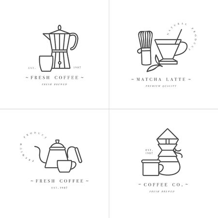 Vector set design colorful templates  and emblems - coffee shop and cafe. Food icon. Labels in trendy linear style isolated on white background Zdjęcie Seryjne - 132518275