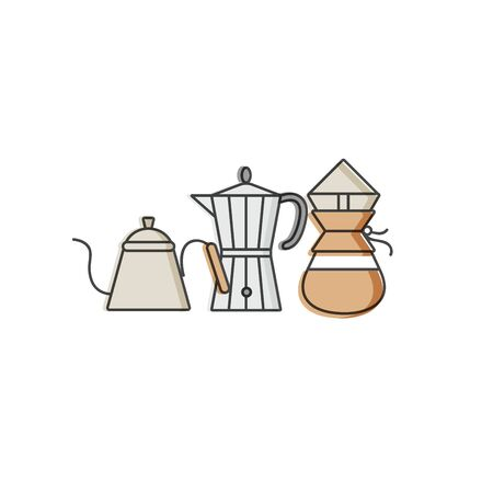 Vector set design colorful templates emblems - coffee shop and cafe. Food icon. Labels in trendy linear style isolated on white background Zdjęcie Seryjne - 132518276
