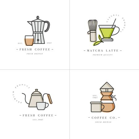 Vector set design colorful templates and emblems - coffee shop and cafe. Food icon. Labels in trendy linear style isolated on white background