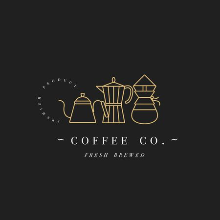 Vector design colorful template or emblem - coffee shop and cafe. Food icon. Golden label in trendy linear style isolated on white background Ilustracja
