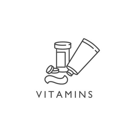 Vector flat icon of medical bottle of pills, vitamins, capsules, lozenges. Medication care for the human body. Vitamin course  イラスト・ベクター素材