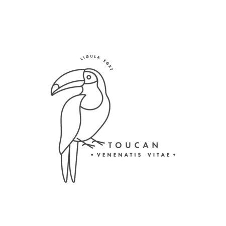 Vector linear  design toucan bird on white background. Toucan emblems or badges