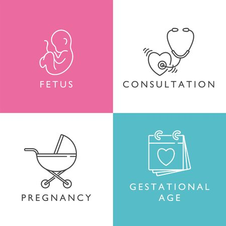 Vector set icons of obstetrics and pregnancy. Linear design for gender and pregnancy, vitamins age and giving birth. Simple icons