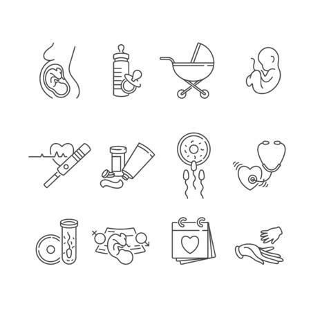 Vector set icons of obstetrics and pregnancy. Line flat contour, thin and linear design for adoption and babysitter. Simple icons Çizim